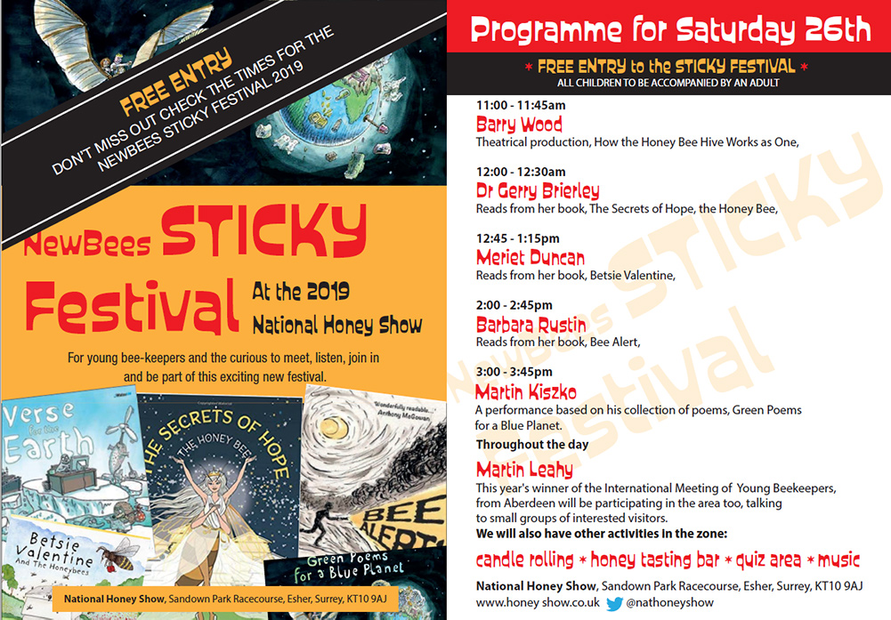 NewBees STICKY Festival - Saturday 26th October at the 2019 National Honey Show - For young bee-keepers and the curious to meet, listen, join in.